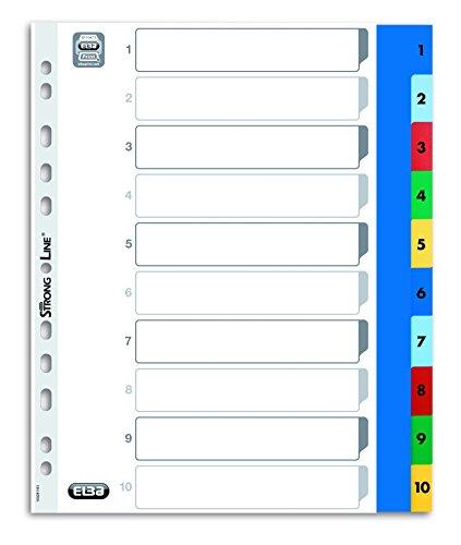 ELBA 100205095 XL Kunststoff-Register Strong-Line Zahlen 1-10 DIN A4 10-teilig Extrabreit für die ideale Ablage von Prospekthüllen