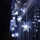 94 LED Schneeflocke Lichterketten, Lichtervorhang Lichter Weihnachtsbeleuchtung mit 8 Flimmer-Modi und Timer für Hochzeit, Weihnachten, Geburtstagsfeiern, DIY Haus Mantel Dekoration (Kaltweiß)