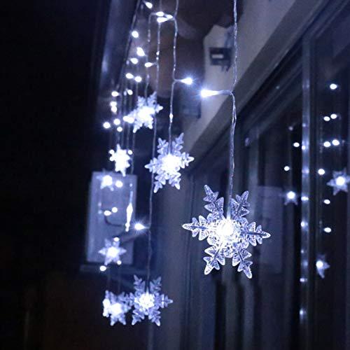 94 LED Schneeflocke Lichterketten, Lichtervorhang Lichter Weihnachtsbeleuchtung mit 8 Flimmer-Modi und Timer für...