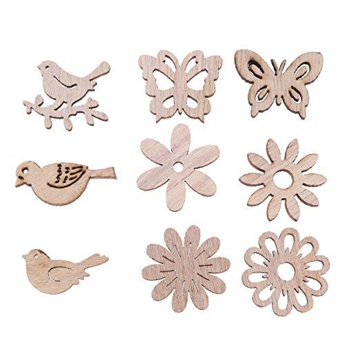 Amosfun 100 Stücke Vogel und Blumen Holzscheiben Weihnachten Streudeko Holz Streuteile Tischdeko Konfetti Weihnachtsschmuck Baumschmuck Weihnachtsbaum Deko (Gemischten Stil)