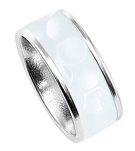 Stylish Dimples Birdie, Golfball Ring mit Golfball Inlay, Edelstahl weiß schmal 9,6 mm (55 (17.5))