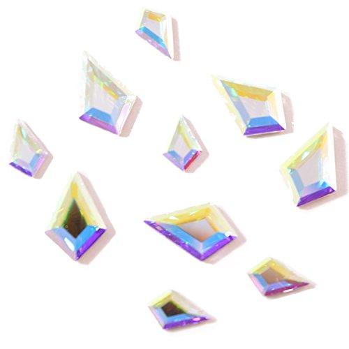 Swarovski 2771 Kite Flatbacks Crystals Nail Art Rhinestones, Mixed Size (12.9x8.3mm and 8.6x5.6mm) Crystal AB- 10 Pieces