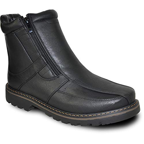 bravo! Men Winter Boot DEAN-12 with Fur Lining and Double Zipper Black