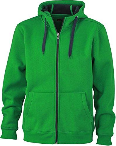 JN355 Men´s Doubleface Jacke Sweatjacke Kapuze Sweatshirt, Herrengrößen:L, Farbe:fern green-graphite (solid)