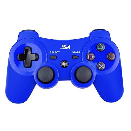 Kabi Bluetooth Wireless Controller für PS3 Controller Doppelschlag Gamepad 6-achsen Game Controller für Playstation 3 Bonus Freies Ladekabel Blau