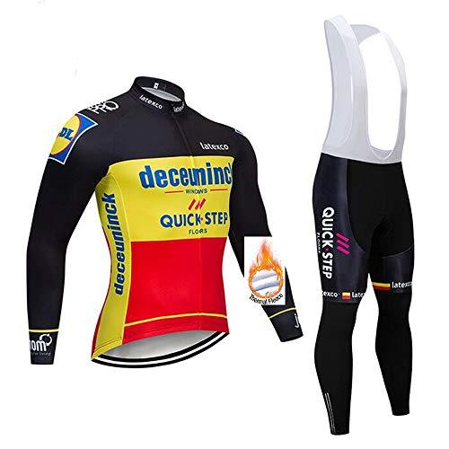 SUHINFE Maillot Cyclisme Homme Manche Longue et 3D Tenue VTT Velo Ensemble Equipe ProHomme Hiver Molleton Thermique Chaud Confort