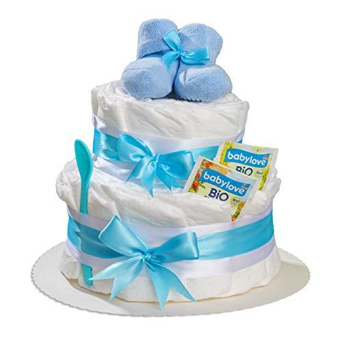 Windeltorte 2 stöckig mit Babysocken in Blau oder Rosa von Homery, als Geschenk zur Geburt oder Babyparty für Junge oder Mädchen (Blau)