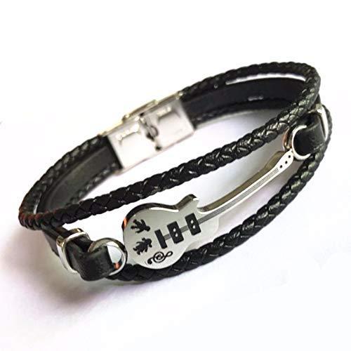 ZAJIWF Corde Classique pour Hommes Accessoires chaîne Mini Bracelet avec breloque Guitare Bracelet Vintage Multicouche Bracelet tressé Titane Acier Bijou