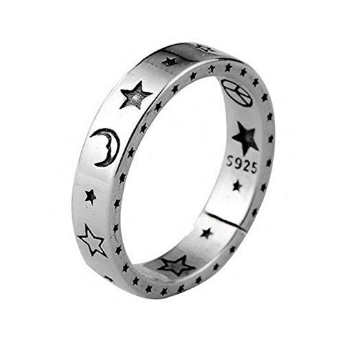 Aukmla Anillo de plata con diseño de estrella vintage y luna, anillos abiertos, anillo de cara sonriente ajustable para mujeres y niñas