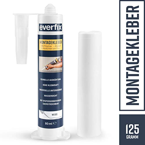 Everfix - Pegamento de montaje para interior y exterior (125 g, para metal, madera, azulejos, etc., uso universal, para pegar y sellar, 125 g / 80 ml), Blanco