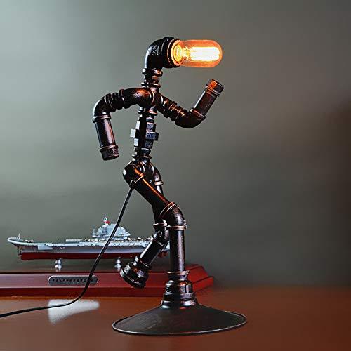 Lámpara De Mesa Robot Industrial, Lámpara De Escritorio Nostálgica Tubos De Agua De Hierro Forjada Lámpara De Mesilla Lámpara Decorativa Creativa, Sin Bombilla