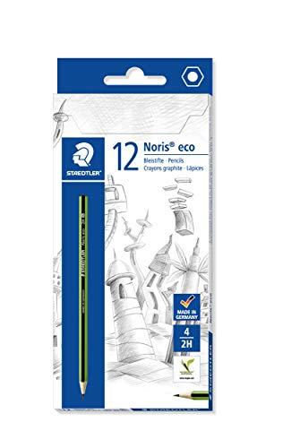 STAEDTLER Bleistift Noris eco, hohe Bruchfestigkeit, rutschfeste Soft-Oberfläche, Wopex-Material Härtegrad 2H, Kartonetui mit 12 Stück, 180 30-2H
