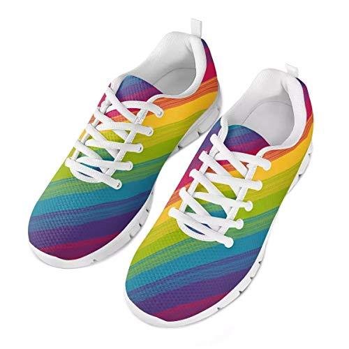 POLERO Neuheit Irisierter Regenbogen Dunkle Farbe Schuhe Damen Herren Slipper Bequemer Sneaker Sportschuhe Leichte Laufschuhe Laufschuhe Schnürschuhe Freizeitschuhe 39 EU