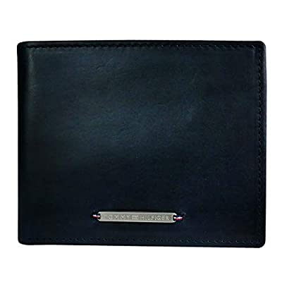 Tommy Hilfiger Men's Key Fob Wallet - Leather Bifold Removable Card Holder, Navy Rivington, One Size