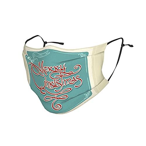 Frohe Weihnachten Maltuch Gesichtsmaske Waschbar Wiederverwendbare Einstellbare Maske für Damen Herren 2 Kohlefilter M