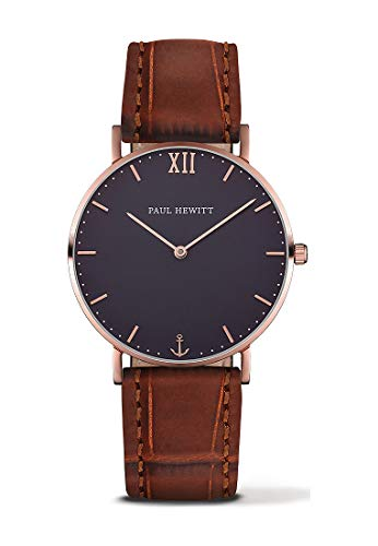 Paul Hewitt Unisex Erwachsene Analog Quarz Uhr mit Leder Armband PH-SA-R-St-B-14M