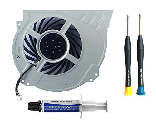 ElecGear Replacement CPU Lüfter für PS4 Pro CUH-7xxx – Intern Reparatur Ersatzkühler Ventilator Kühler Cooling Fan, Thermo Paste, TR8 Torx Security, PH0 Driver Set für Playstation 4 Pro