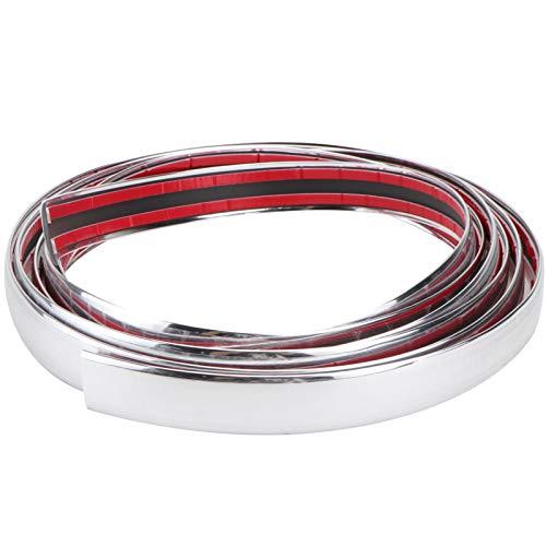 WINOMO 3 m x 21 mm - Bande décorative flexible chromée pour voiture, pare-chocs, grille (argent)