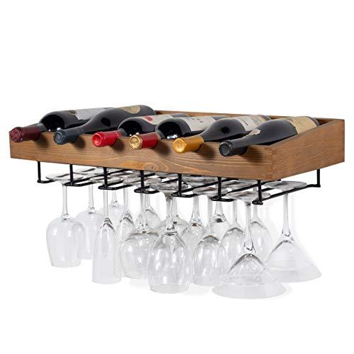 brightmaison Wine Rack Wall Mounted - Hanging Bottle & Glass Holder - 6 Bottles and Stem Wine Glass Stemware Rack, Wood Walnut