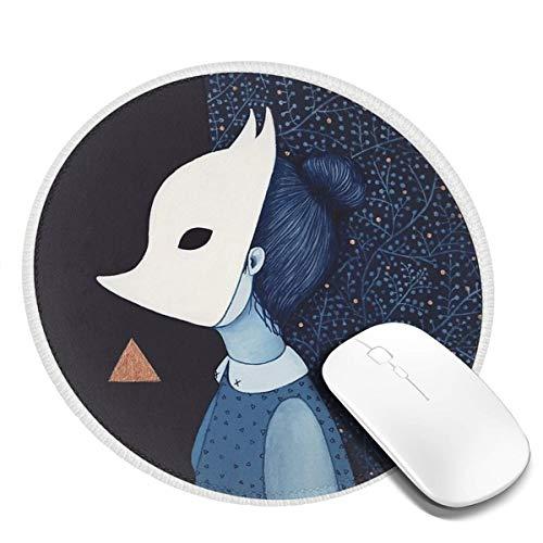 7.9x7.9in meisje met witte vos masker ronde muis pad bureau toetsenbord mat grote muis pad voor computer desktop laptop