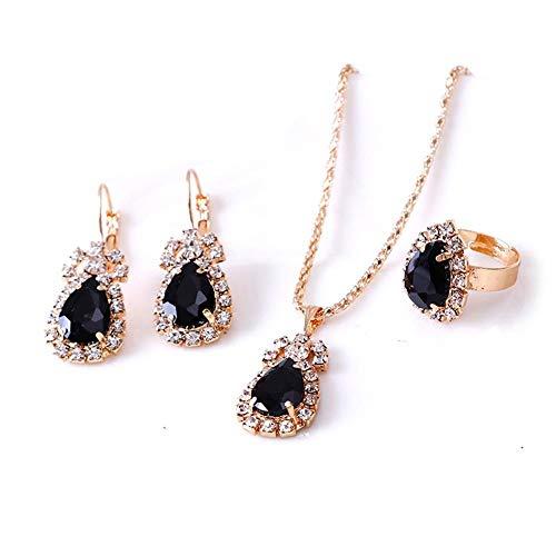 Schmuck-Sets für Damen, Kristall-Anhänger, Ring, Halskette und Ohrringe, Set Schmuck, Geburtstagsgeschenk für Ihre Mutter, Ehefrau, beste Freundin, Schwarz