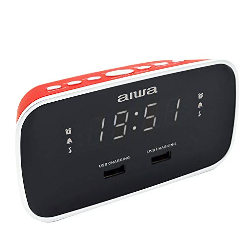 Aiwa CRU-19RD Radiowecker Rot LED-Display Dimmerfunktion