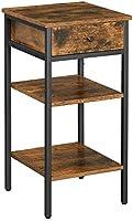 VASAGLE Nachtkastje, hoog, met een lade en 2 planken, ruimtebesparend, industriële stijl, vintage bruin-zwart LET502B01