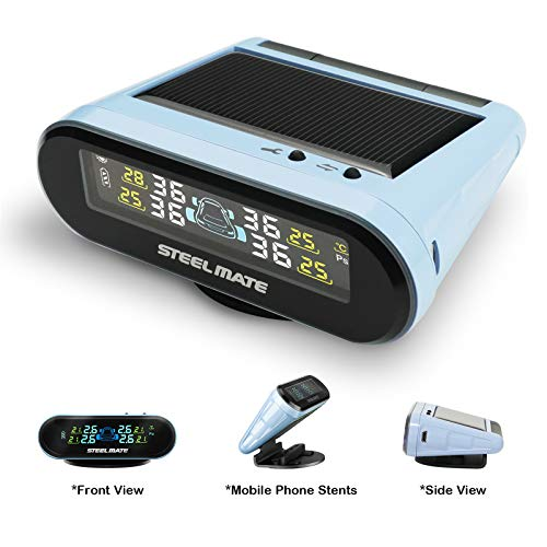 STEEL MATE Solar Power Tire Pressure Monitoring System, 6 Alarm Modes,Support Car Bracket Function, Auto Backlight & Smart LCD Display, Auto Sleep Mode, with 4 External Tpms Sensor (Blue)