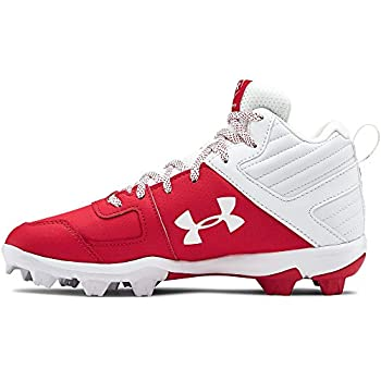 Under Armour Boy s Leadoff Mid RM Jr Baseball Shoe Red  600 /White 4