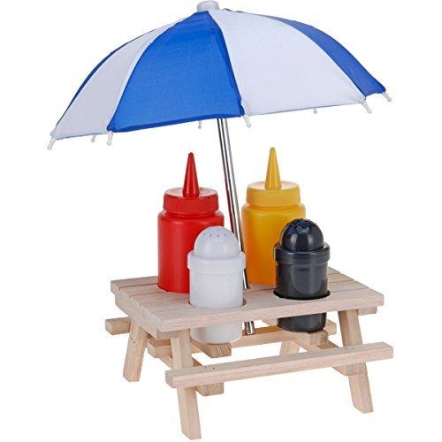 Menage Set Picknick 6tlg. Salz Pfeffer Ketchup Senf Halter Gewürzständer