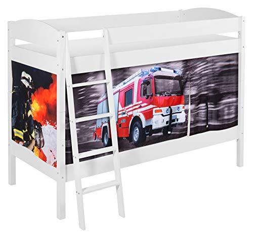 Lilokids Etagenbett IDA 4105 Feuerwehr - Teilbares Systembett weiß - mit Vorhang und Lattenroste