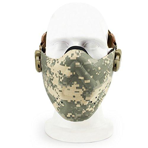 SGOYH Airsoft Paintball Schutzausrüstung Half face Tactical Camo Maske Radfahren Jagd Cosplay Halloween CS Spiel Ideal Masken (ACU)