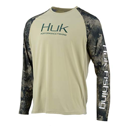 Huk Men's Double Header Vented Long Sleeve Shirt | Premium Fishing Shirt with +30 UPF Sun Protection, Sage, X-Large