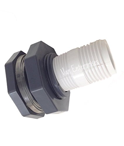 Van Enterprises 3/4' Bulkhead Fitting with Garden Hose Adapter Kit for Rain Barrels, Aquariums, Water Tanks, Tubs, Ponds