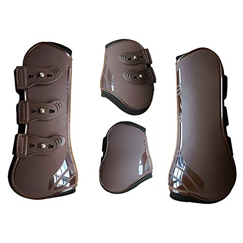 MAYiT Horse Tendon Boots (4 pcs - Front & Hind), PU Shell Tendon Fetlock Brace Guard Boots for Riding Shock Absorbing Jumping Competition Protection