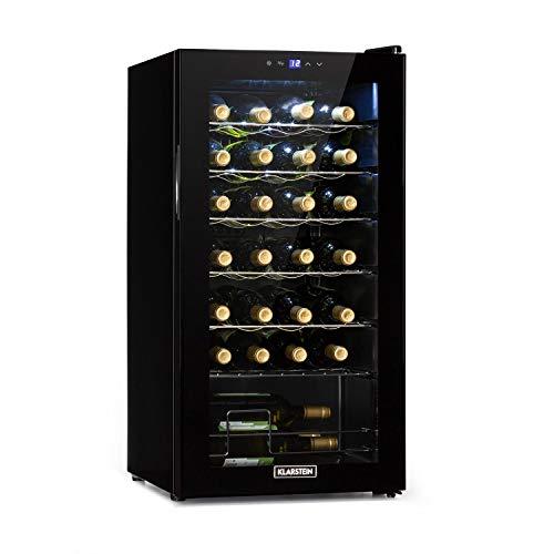 Klarstein Shiraz Uno - Weinkühlschrank, Temperaturen: 5-18 °C, Energieeffizienzklasse A, 42 dB, Soft-Touch-Bedienfeld, 6 Regaleinschübe, Platz für 28 Flaschen Wein, Volumen: 74 Liter, schwarz