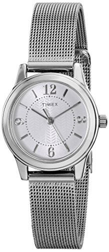 Timex Casey Dress T2P457 Damen-Armbanduhr, silberfarbenes Edelstahlgeflecht