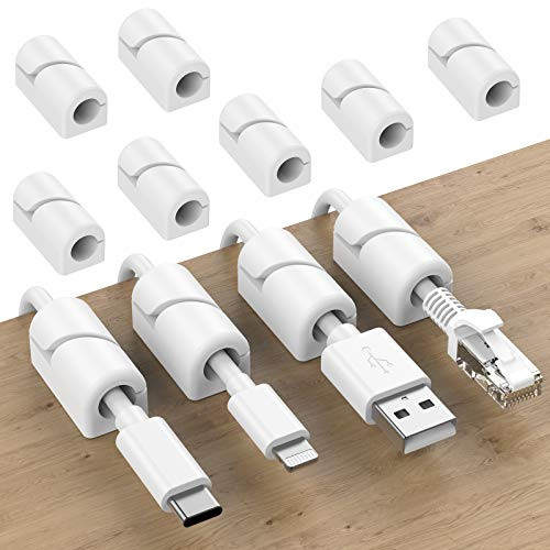 SOULWIT 20Pcs Clips Organizador de Cables Autoadhesivo, Gestión de Cable Eléctrico, Clips...