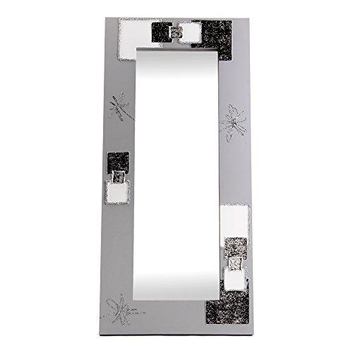 Lohoart L-1230-1 - Espejo Sobre Lienzo Pintado Artesanal, Espejo Pared Color Blanco y Plata, Medidas: 150X70X15 cm