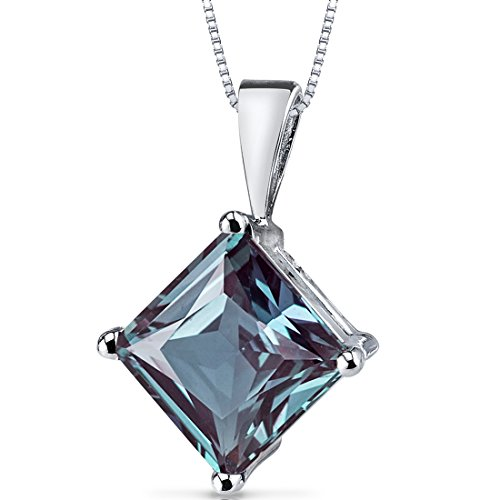 14 Karat White Gold Princess Cut 3.00 Carats Created Alexandrite Pendant