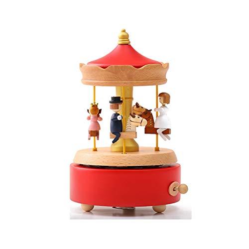 xilinshop Caja de Música para Caja de música de carrusel de Madera Arriba y Abajo Regalo Navidad/Cumpleaños/Día de San Valentín Regalo de la Caja de Música