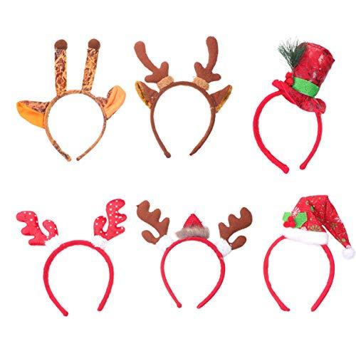 Lurrose 6 stuks rendier gewei haarband mini kerstmuts Kerstmis haaraccessoires elandgewei hoofdtooi eland-oren hoofddeksel kinderen volwassenen party kostuum accessoires