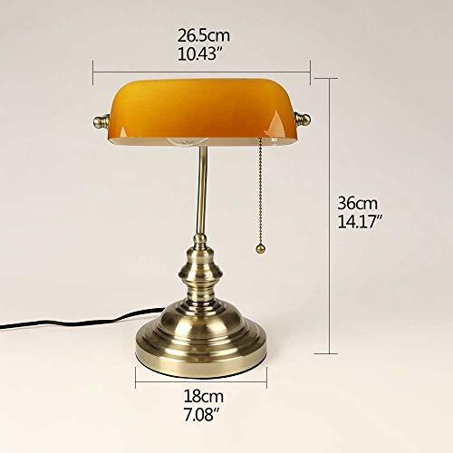 Klassische Vintage Banker Lampe Tischlampe Mit Schalter Grün Glas Lampenschirm Abdeckung Schreibtischleuchten Für Schlafzimmer Arbeitszimmer Lesung 1 STÜCK/Gelb