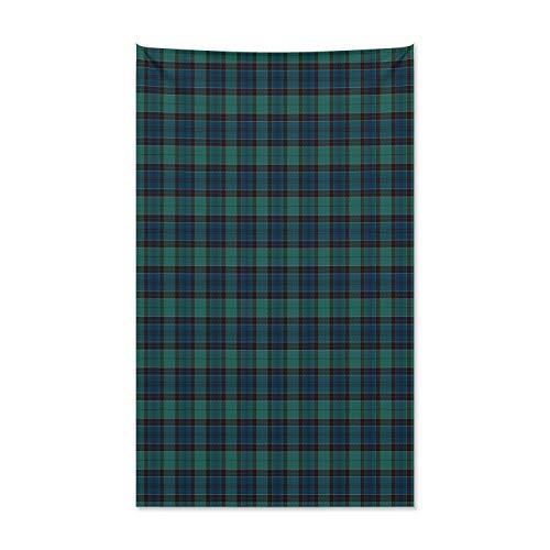 ABAKUHAUS Schotse ruit Wandtapijt, Schotse Folklore Pattern, Stoffen Muurdecoratie voor Woonkamer Slaapkamer Slaapzaa, 140 x 230 cm, Dark Green Black
