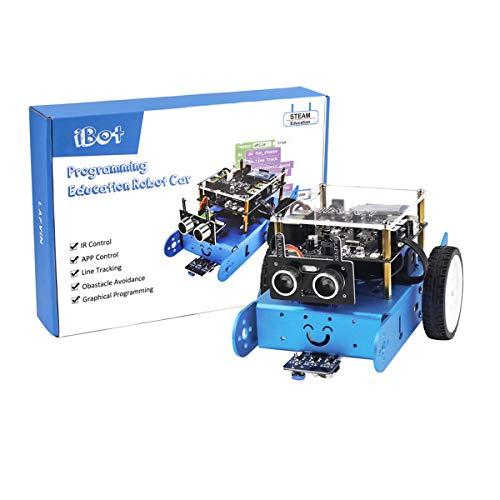 HARTI IBOT - Kit programable de coche robot educativo para Arduino Programación gráfica con manual de usuario, seguimiento, prevención automática de obstáculos, control Bluetooth