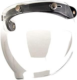 1STorm Universal 3 Snap Button Flip Up Visor Clear Bubble Shield Lens for Retro Vintage Open Face Motorcycle Helmet