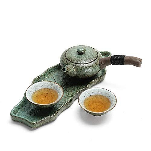 ZGQA-AOC Conjunto de té de la tetera de esmalte Cerative estilo japonés con asa y tazas de té de conjunto de servicios for adultos 2 Decoración del hogar regalo de la taza y platillo Sets (Color: Verd