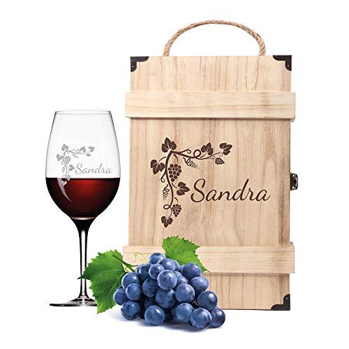 Leonardo Weinglas in Geschenkbox mit Gravur Name und Motiv Ranke Wein-Glas personalisiert graviert