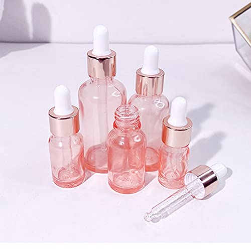 QJWGJA cuentagotas 10 unids/Lote Vidrio Rosa gotero Botellas con pipeta Botellas de Aceite Esencial aromaterapia Mezclas de Perfume cosmético contenedores Prevenir Fugas
