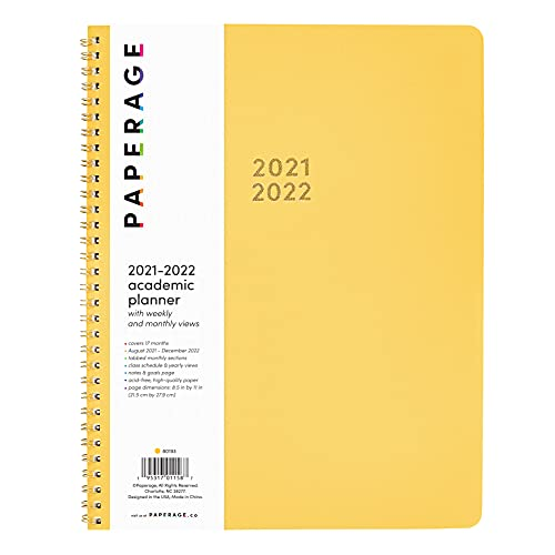 PAPERAGE 17 Month Academic Planner 2021-2022 – Weekly & Monthly Spreads, Yellow – 17 Months (August 2021 – December 2022) - 8.5 in x 11 in –...